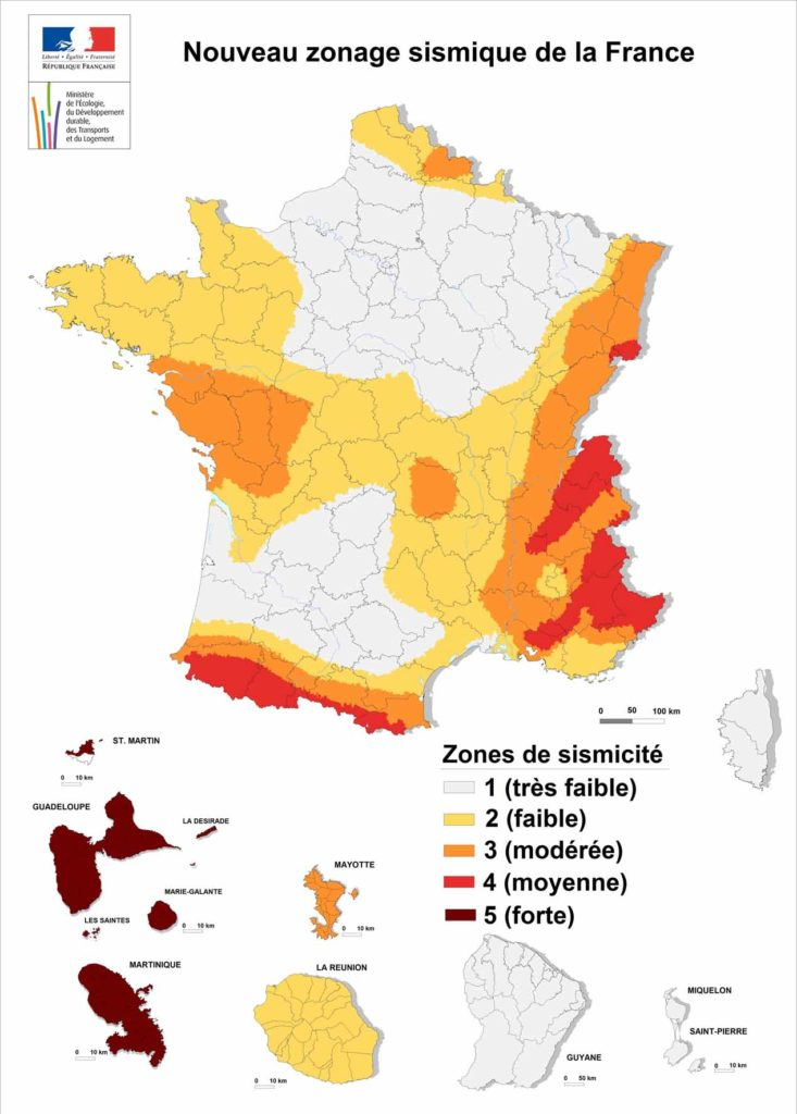 Construction parasismique : Zonage Sismique de la France en 2017
